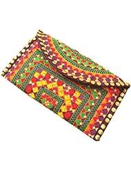 MinkysDecor Indian Traditional Antique Handwork Hand Embroidered Shopping Bag Shoulder Bag Hobo Bag Sling Bag... - B01I11VTN6