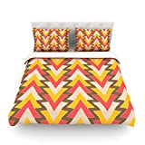 "Kess InHouse Julia Grifol ""My Triangles in Red"" Orange Brown King Cotton Duvet Cover, 104 by 88-Inch"