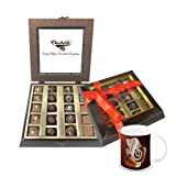 Chocholik Belgium Gifts - Assorted Chocolates With Beautiful Wooden Box & Diwali Special Coffee Mug - Diwali Gifts
