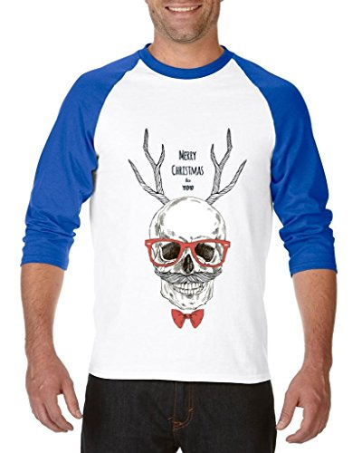 Blue Tees Ugly Sweater Merry Christmas Skull with Eyeglasses and Bowtie Unisex Raglan Baseball T-Shirt Large White Royal