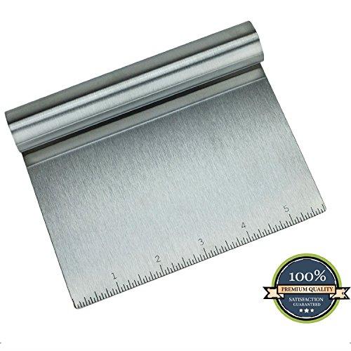 "HUJI Stainless Steel Mirror Polished Dough Cutter Scraper Chopper Kitchen Tool (1, 5.75"" X 4.75"")"