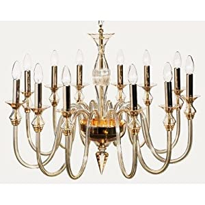 2400 Chandelier in Chrome / Gold Bulb: (16+8) 40 / 60W E14, Finish: Gold, Shade / Dropper Colour: Clear Glass :: Best Seller