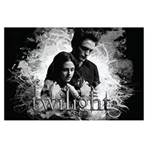 "Twilight Pillowcase ""Edward & Bella"" Black and White"