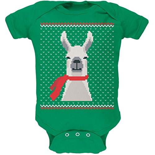 Ugly Christmas Sweater Big Llama Kelly Green Soft Baby One Piece - 3 month