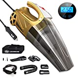 LB LECHEBANG Air Compressor Car Cleaner Hand Held Wet Dry DC 12V High Power Vacuum Tire Inflator and LED for Lighting-HEPA Filter … (Gold) (Digital Control Meter)
