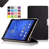 【全4色】IVSO オリジナル Sony Xperia Z3 Compact Tablet (Xperia Z3 Compact Tablet だけ 適用) 専用スマートケース 超薄型 最軽量 スタンド機能付 (ブラック)