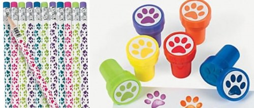 24 Pc Paw Party Favors -Paw Print Pencils and Paw Print Stampers Lot