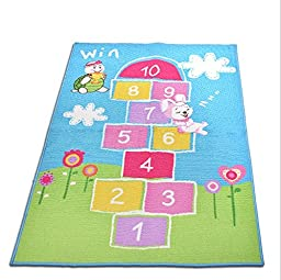 LELVA Hopscotch Kids Rug Children\'s Playground Design Non-skid (No-slip) Area Rug (39 X 70 inch)
