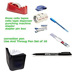 Kangaroo Paper Punching Machine Small With Stapler + Stapler Pin + 3 Cello Tape Dispenser+ Cello Tapes+ Correction Pen (whitener) + Use And Throw Pen Set Of 10)+ 2 Cd Marker + 24 Cd Pouch