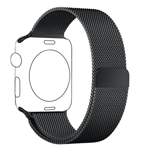 Cinturino Apple Watch 42mm Nero, PUGO TOP® Loop in Maglia Milanese Acciaio Inossidabile con Chiusura Magnetica Regolabile Bracciale Strap Band for Apple Watch Band Series 1 / Apple Watch Band Series 2 (42mm Nero)