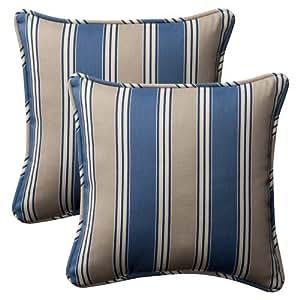- Decorativo azul / moreno rayados Cojines, Cuadrado, paquete de 2