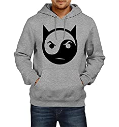 Fanideaz Men's Cotton Evil Ying Yang Attaboy Hoodies For Men (Premium Sweatshirt)_Grey Melange_L