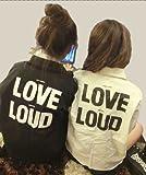 【 バックロゴ Gジャン LOVE LOUD ( 白 黒 2色より) フリーサイズ 長袖 +おまけ付き 】 レディース デニム ジャケット ファッション 上着 アウター カジュアル ストリート 原宿 プリント ロゴ 流行 【HAPPINESSMAILE】