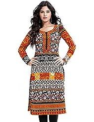 Priya Fashion White Bollywood Designer Printed Cotton Unstitched Kurti