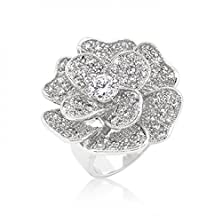 buy Large Flower Cubic Zirconia Cocktail Ring