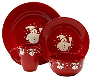 Waechtersbach Holiday Gracie 16-Piece Dinnerware Place Setting, Service for 4, Cherry with White Snowman