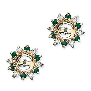 14K Yellow Gold 1/4 ct. Diamond<BR>with Alternating 3/8 ct.<BR>Emerald Earring Jackets