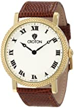 Croton Men's CN307266HBYL Ermex Light Silver Textured Dial Brown Lizard Leather Watch