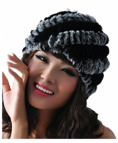 Queenshiny Women's 100% Real Rex Rabbit Fur Knitted Beanie Cap Hat-Gray and Black