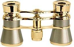 LaScala Optics AIDA Binocular 3X25 Central Focus Opera Glasses, Titanium Body, Golden Rings -