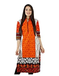 D2nine Women's Cotton Collar Neck Kurti