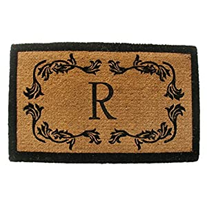 Geo Crafts Geo Crafts Imperial GR Leaf Border Monogram Mat, 100% Natural Coir, 72L x 36W in.