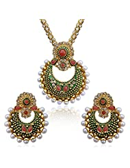 Traditional INDIA Ethnic Polki Kundan Necklace Set With Faux Pearls And Stones Embedded In Beautiful Ivory Base...