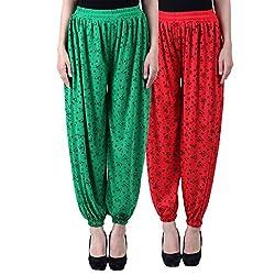 NumBrave Printed Viscose Green & Red Harem Pants (Pack of 2)