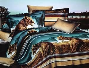 parure de lit pour adulte motif lion africain safari. Black Bedroom Furniture Sets. Home Design Ideas
