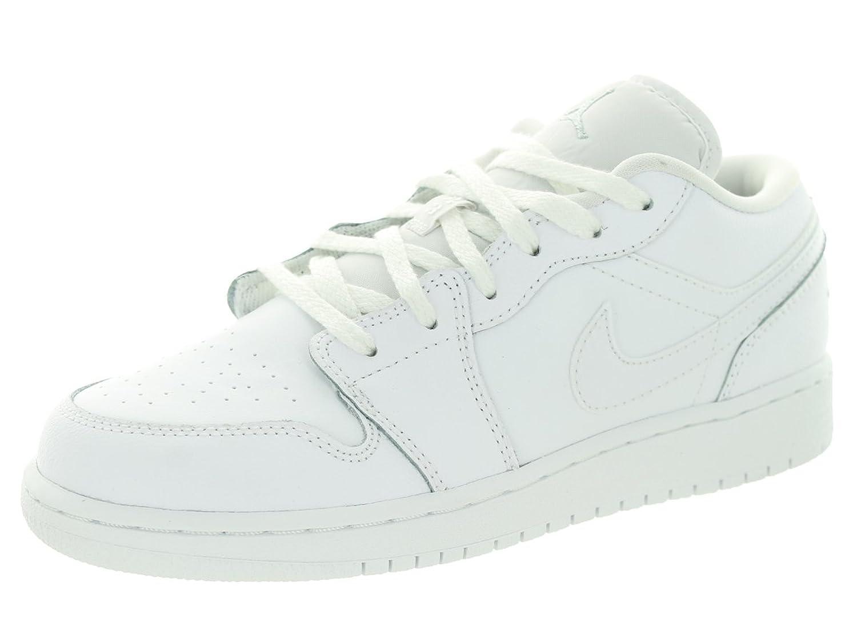 big sale 768e2 e4960 Nike Jordan Kids Air Jordan 1 Low Bg White Metallic Silver White Basketball  Shoe ...