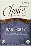 Choice Organic Earl Grey Tea,  Black Tea, 16-Count Box  1.1 Oz  (Pack of 6)