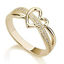 buy Gold Plated Heart Ring, Love Ring Heart, Promise Ring 925 Sterling Silver Plated In 18K Gold -Available Sizes 5,5.5,6,6.5,7,7.5,8,8.5,9 (6)