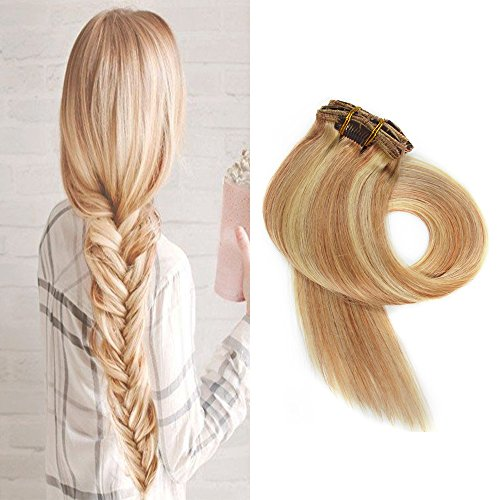 BETTY Clip In Human Hair Extensions 15 18 20 22 Inch 7pcs 70g Set Silky Straight Human Remy Hair Omber Color (15inch, (Black Long Wig With Two Braids)