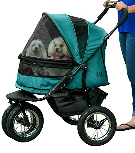Pet Gear No-Zip Double Pet Stroller, Pine Green