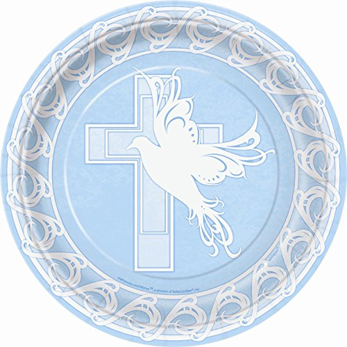 Baptism Plate Dove Cross Blue Big 9""