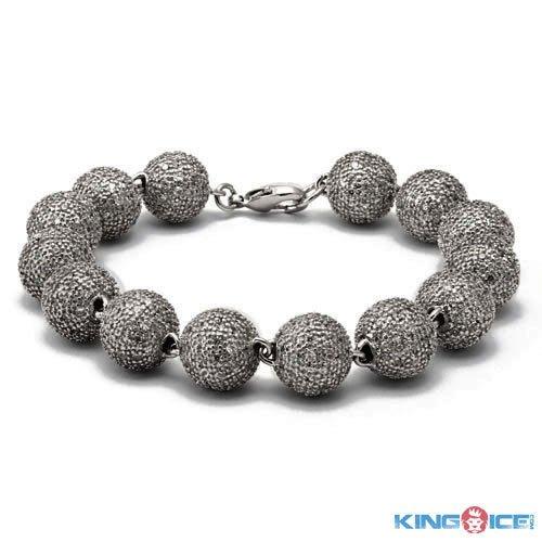 King Ice Silvery Urban Premium Disco Ball Bracelet
