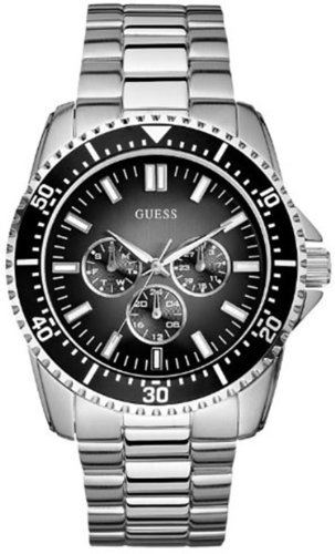 Guess Men'S U12618G1 Silver Stainless-Steel Quartz Watch With Black Dial