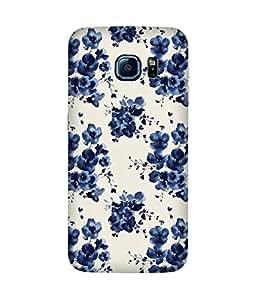 Blue Flower Pattern Samsung Galaxy S6 Case