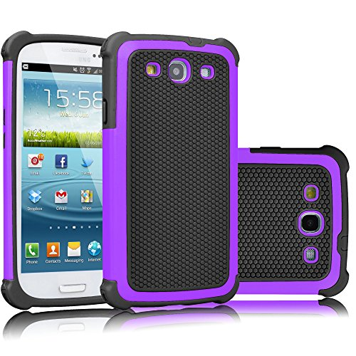 Galaxy S3 Case, Tekcoo(TM) [Tmajor Series] [Purple/Black] Shock Absorbing Hybrid Rubber Plastic Impact Defender Rugged Slim Hard Case Cover Shell For Samsung Galaxy S3 S III I9300 GS3 All Carriers (Galaxy S Iii Cover compare prices)