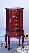 Hot Sale Queen Anne Style Jewelry Armoire In Mahogany Wood Finish With Eight Deluxe Drawers, Two Side Doors, And Mirror