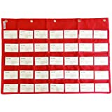 Wander Agio School Count Pocket Literacy Chart Card Deluxe Calendar Pocket Wall Hanging Chart Teaching Materials Red