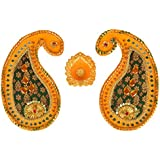 Six Senses Handicraft Wooden Rangoli Pattern With Diya (32 Cm X 23 Cm X 1 Cm)
