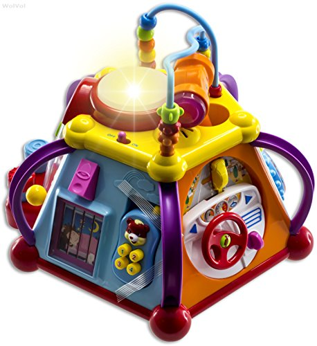 Musical Toys For 1 Year Olds : Wolvol musical activity cube play center with lights
