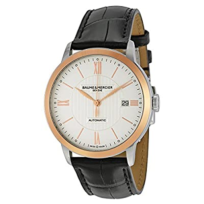 Baume and Mercier Classima Automatic Silver Dial Black Leather Mens Watch 10216