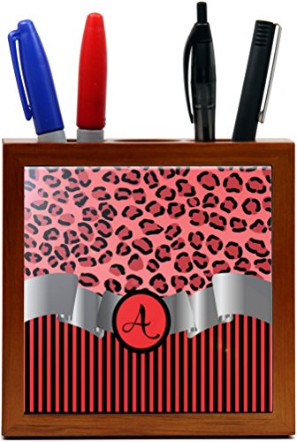 "Rikki Knighttm Letter ""A"" Initial Red Leopard Print And Stripes Monogrammed Design 5 Inch Tile Wooden Tile Pen Holder"