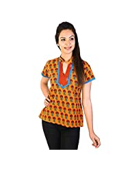 Jaipur RagaFloral Rajasthani Hand Block Print Cotton Top Yellow Cotton Kurti