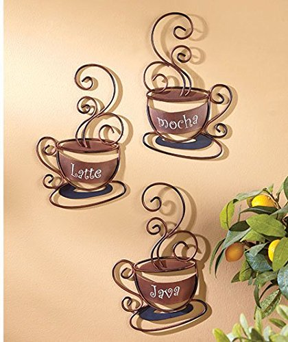 Set of 3 Metal Coffee Cups (Coffee Cups Kitchen Decor compare prices)