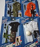 GI Joe 4 Outfits - Navy Shore Patrol, Air Force Flyer, Marine Parris Island and Army Boot Camp Gear - Made by Hasbro in 1993 - These also fit Action Man