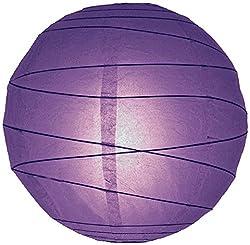 WeGlow International 10 Dark Purple Free-Style Ribbed Paper Lantern (Set of 2)