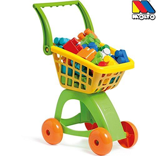 KinderkUche Holz Von Beiden Seiten Bespielbar ~ Hummelladen  Einkaufswagen mit Griff, 30 verschiedene